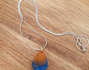 Rainbow resin pendant necklace triangle on silver chain womens jewellery for her gifts