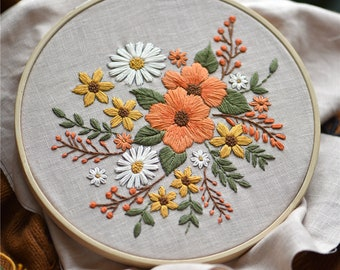 Hand Embroidery Kit Modern,Flowers Embroidery Pattern,DIY Embroidery Kit,Home Decor Christmas Ornaments,Transparent Embroidery kit Beginner