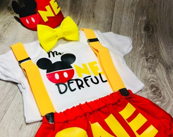 Mickey Mouse Inspired Birthday Outfit and Smash Cake Outfit Bundle