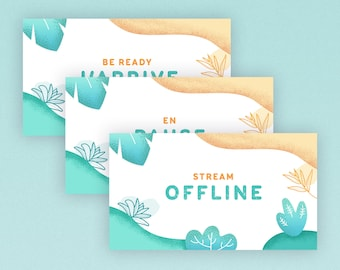 EN/ENG - Pastel theme, illustrated plants - Stream Package / Twitch Overlay