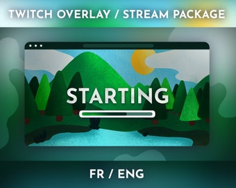 Green Illustrated Landscape Theme - Stream Package / Twitch Overlay
