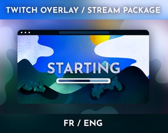 Landscape theme illustrated blue- Stream Package / Twitch Overlay