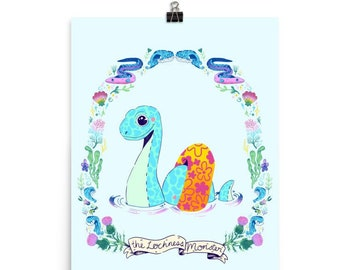 Lochness Monster Cryptid Art Print - 8x10 or 12x16