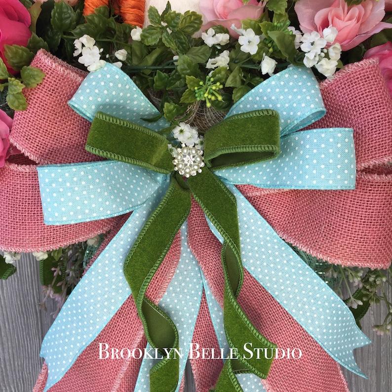 stevens \u2022 Spring Summer Ribbon \u2022 Wreath Craft Supplies \u2022 Easter Ribbon \u2022 Modern Farmhouse 10 yards x 2.5 inch PINK BURLAP wired RIBBON by d