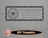 Texas eNotary Electronic Digital Seal Stamp DIY Editable Template Download for Remote Online Notary.