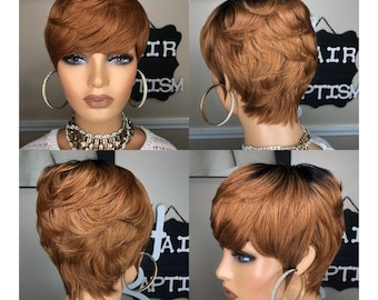 WIG/ Short/ Pixie Cut Human Hair Wig with Razored cut and Classy Sleek back /Reddish Blonde w/Black root no lace Full Cap Wig