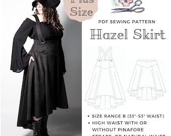 intro price DIGITAL DOWNLOAD, Hazel skirt sewing pattern, Plus Size range B, High/natural waist, 2 lengths, pockets. PDF, print at home