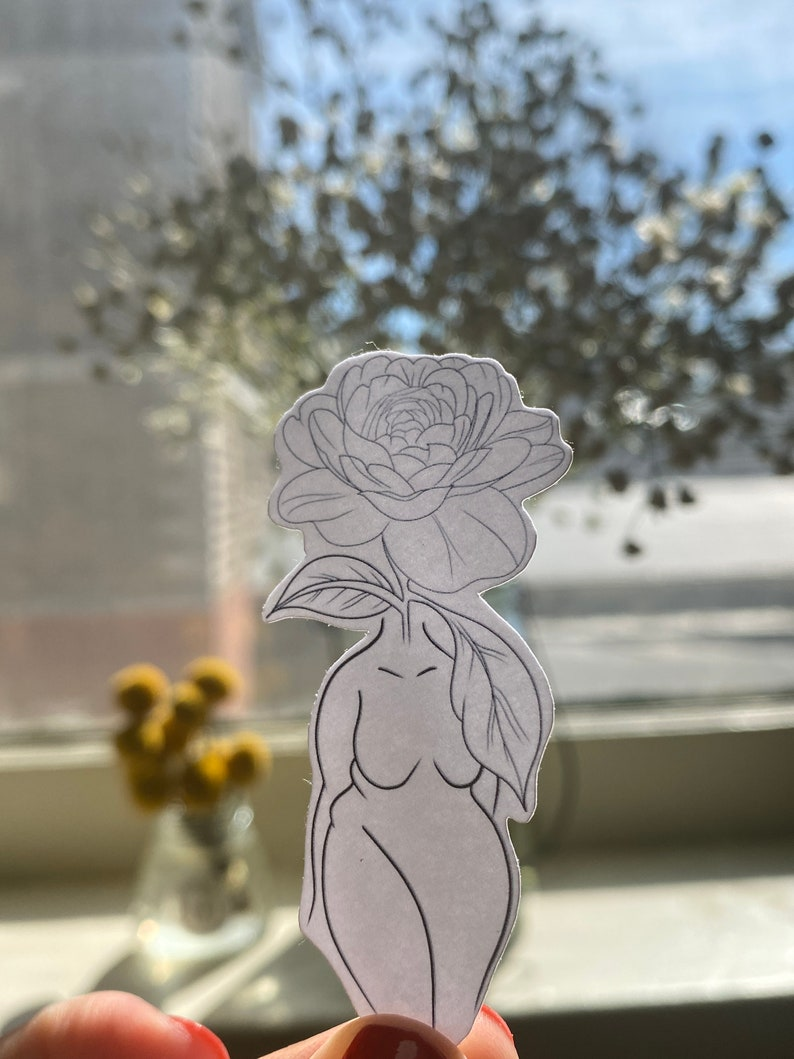 Gift Minimalist Anniversary Gift Planner Sticker Flower Sticker Simple Line Art BODY POSITIVE STICKER Laptop Decal Body Sticker