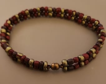 Red, grey and olive green, glass, seed bead bracelet with magnet clasp