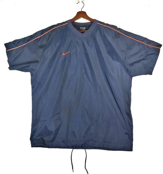 Vintage Nike Small Swoosh V Neck Short Sleeve Blue