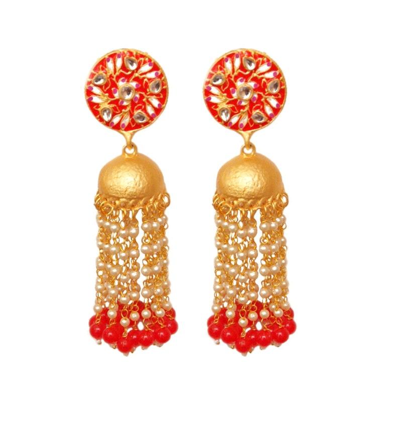 Red Meenakari Jhumka,Indian Jewelry,Gold Jhumka,Long Indian Pearl Earrings,Beads Jhumka,Tassel Earrings,Matte Jhumka,Bollywood Earrings