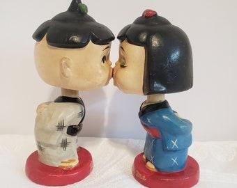 Vintage Kissing Nodders, Japanese Bobbleheads Couple, Magnetic Kissing Pair