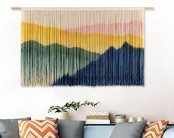 Dip dyed fiber art Woven tapestry Wall decor Large macrame Green red ombre macrame 46x54cm Medium macrame tapestry Wall hanging 18\u201dx21\u201d