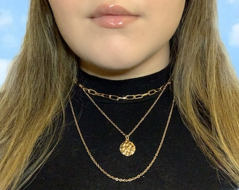 Gold Chic Layered Necklace - Paperclip Chain + Gold Pendant Dainty Statement Necklace