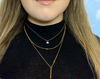 Gold Layered Necklace - Dainty Gold Necklace Set