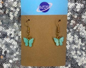 Butterfly Earrings - Chic, Gold, Colorful Butterfly Earrings