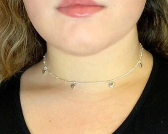 Silver Heat Choker Necklace - Silver Dainty Heart Necklace