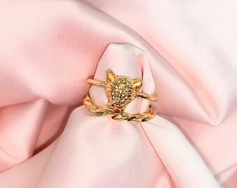 Gold Tiger Ring Stack | 2 Pc Gold Ring Set