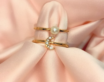 Gold Moon + Pearl Ring Stack | Gold Celestial Rhinestone 2 pc Ring Set