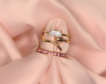 Gold Snake Ring Stack | 3 Pc Gold, Pink + Clear Diamond Rhinestone Ring Set