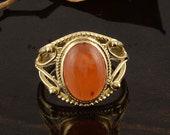 Citrine Gemstone Ring,Brass Gemstone Ring,Vintage Rings,Boho Rings,Gift For Her,Couple Rings,Personalized Ring,Knot Desinger Ring,Ring Dish