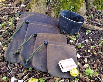Bushcraft Waxed Cotton Bags, Canvas Ditty Bag, Waterproof Stuff Sack - Olive Green
