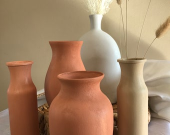 Matte Boho Vase   Terra Cotta Style   Large Bouquet Vase   Neutral Vase   Modern Decor   Terracotta