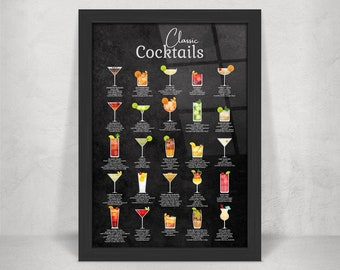 Classic Cocktail Metal Home Bar Sign Print on Black Chalkboard. 25 Popular Cocktails on Gloss Metal Wall Art.  Framed and Floating Mounts