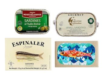 Premium Sardines Variety Pack - Includes Sardines from Les Mouettes D'arvor, Conservas de Cambados, Jose Gourmet, and Espinaler (4 items)