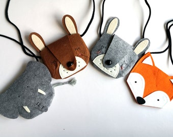 Handmade children animal felt bag (Elephant / Dog / Fox)