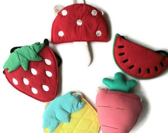 Handmade children cotton bag (Strawberry bag / Pineapple bag / watermelon bag / mushroom bag / carrot), Perfect for SPRING and SUMMER