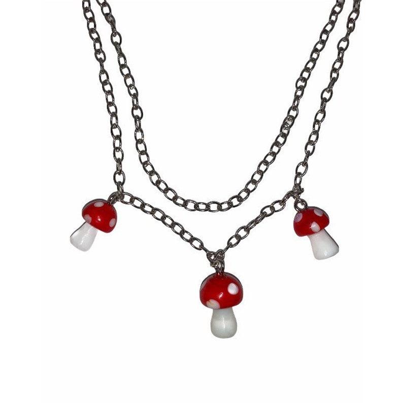 Shroomie Jewelry Edgy Necklace Mushroom Lovers Gift Handmade Fungi Jewelry Mushroom Accessories Fungii Red Glass Mushroom Necklace
