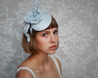 Bridal Pillbox with birdcage veil in pigeon blue, Bridal Headpiece, Pillbox