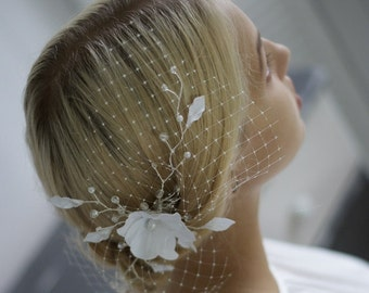 Bridal Headpiece, White Orchid, Wedding Headpiece, Floral headwear with birdcage veil