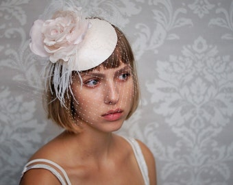 Blush Pink Fascinator with Birdcage Veil and Ostrich Feathers, Bridal Headdress, Wedding Headwear