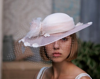 Blush Pink Bridal Hat, Kentucky Derby Hat, Dress Hat, Wedding Hat, Tea Party Hat Ascot