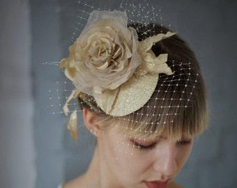 Golden bridal pillbox,  Bridal headpiece, Wedding hairpiece, Womens Party Hat, Mother of bride, Floral headpiece