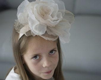 Floral Headpiece, Big Rose on Headband, Headband for girl, Flower Girl Headpiece