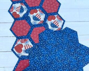 Patriotic/ Fourth of July/ Red, white and blue/ stars/ table topper/quilted centerpiece/ table topper/ summer decor/stars and stripes