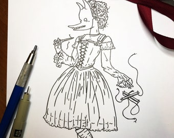 Extraterrestrial. Original Hand Drawn Drawlloween Day 14