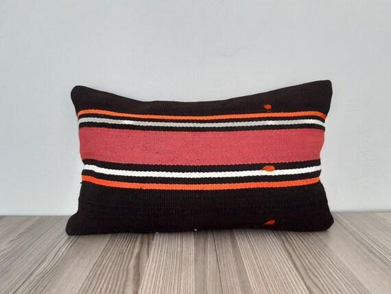 Bohemian decorative lumbar pillow case. Beige handwoven lumbar pillow cover with red stripe