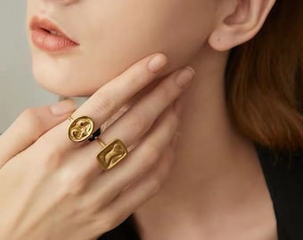 Gold signet ring Ancient greek jewelry Vintage coin ring Boho Medallion Coin Ring for women Gold plated antique statement ring matte finish