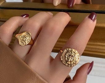 Gold signet ring Ancient greek jewelry Vintage coin ring Boho Medallion Coin Ring for women Gold plated antique statement ring Athena ring
