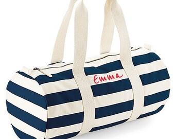 Customizable polochon sports bag in organic cotton