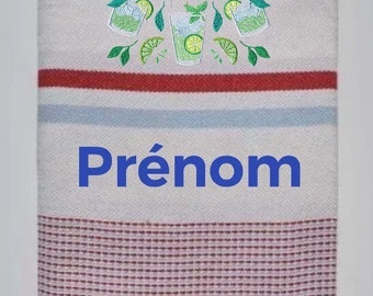 Fouta embroidered rafters striped mojito pattern