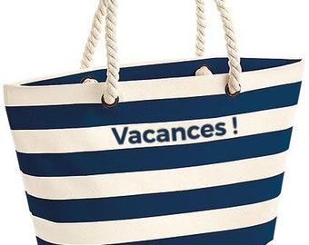 Customizable striped beach bag