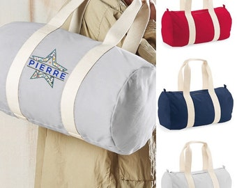 Personalized polochon sports bag in organic cotton