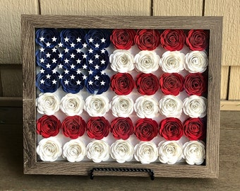 Shadow Box w/ Hand Rolled Paper Flowers - American Flag - Red, White and Blue - Home Decor - USA
