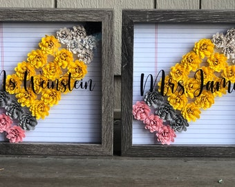 Pencil Shadow Box w/ Hand Rolled Paper Flowers - Teacher Gift - School Gifts