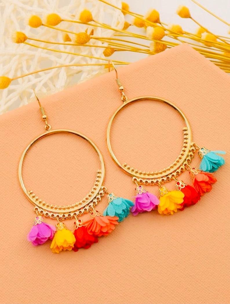 Fun Gift Spring Break Earrings Birthday Earrings Quirky Earrings Flower Tassel Hoop Earrings Vacation Earrings Partner Gift